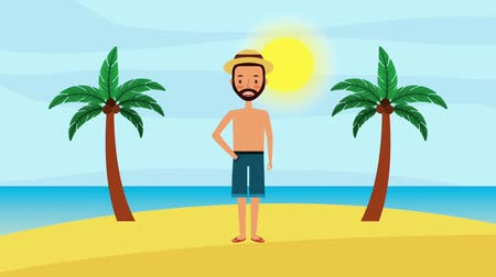 length : beard man standing in the beach with palms and sea animation