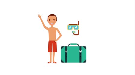 snorkeling : tourist young man in swimsuit with suitcase accessories animation