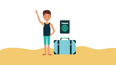 caso : tourist man in sand with suitcase accessories animation