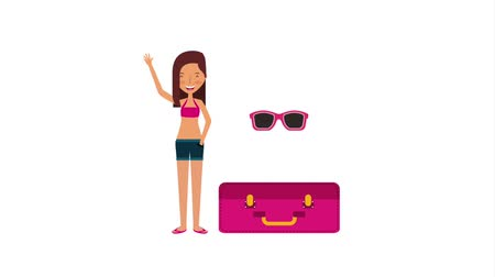 чемодан : tourist woman waving hand with suitcase travel animation Стоковые видеозаписи