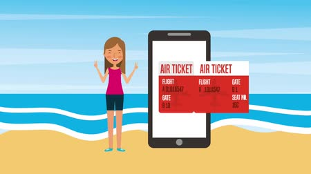 admission : tourist woman in seashore with phone air ticket and passport animation