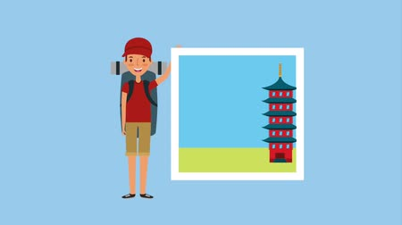 beautiful place : tourist man with photos famous places animation Stock Footage