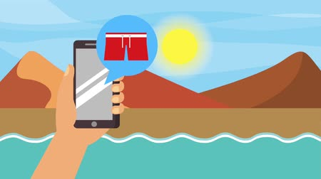 arquipélago : hand holding phone travel landscape lake mountains sand passport animation