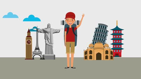 Бен : young man with backpack and differents monuments world animation Стоковые видеозаписи