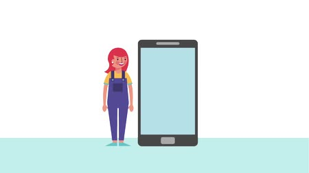 punctuality : woman cartoon character near cellphone device animation