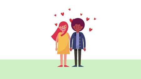 valentine : cute couple romantic love hearts animation Stock Footage
