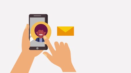 sending : hands with phone sending message people animation Stock Footage