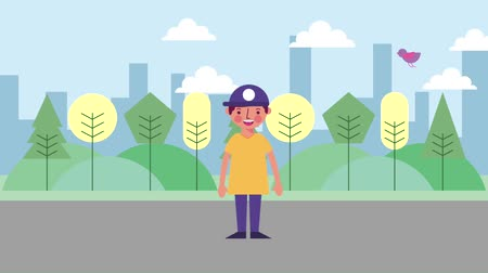 скейтборд : young boy with sport cap standing in the park city animation