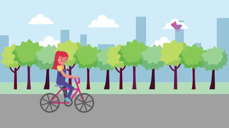 bisikletçi : young girl riding bicycle in the city street animation