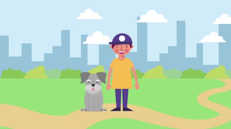 chovat : young boy with his dog in the city park animation hd