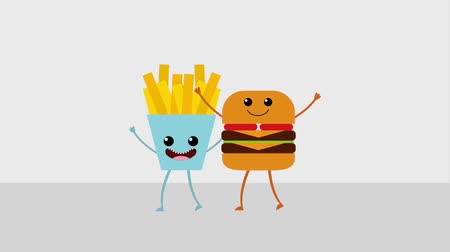 french media : cartoon food burger and french fries animation hd Stock Footage