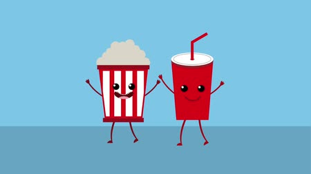 clipe de papel : kawaii cartoon food popcorn and soda animation hd Vídeos
