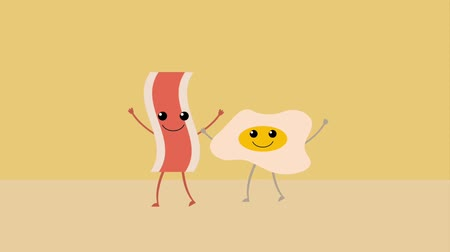 kiełbasa : cartoon food fried egg and bacon animation hd Wideo