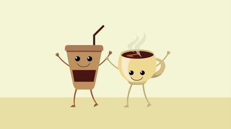 clipe : cartoon coffee cups characters animation hd