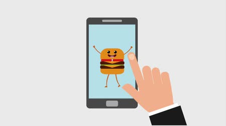 kommunikátor : hand smartphone cartoon burger order food online animation hd animation hd