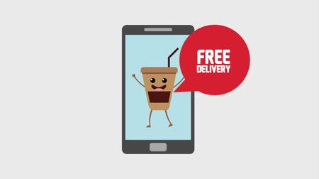 plakát : smartphone coffee cup free delivery order food animation hd animation hd