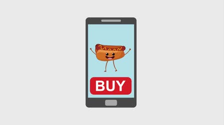 hotdog : Smartphone Hot Dog und Soda kaufen Online-Animation HD Animation HD