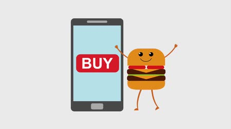 kommunikátor : smartphone and cartoon burger order online animation hd animation hd Stock mozgókép
