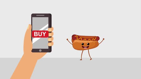 párek v rohlíku : hand with smartphone hotdog buy online animation hd animation hd Dostupné videozáznamy