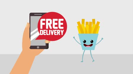 batatas fritas : hand with smartphone free delivery kawaii french fries buy online animation hd animation hd