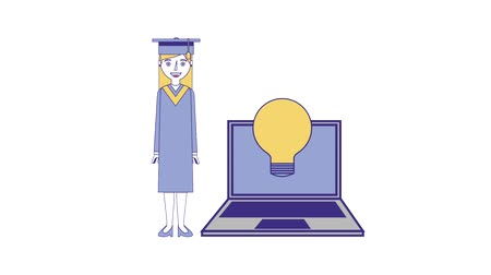 graduação : graduate woman with laptop idea creativity animation hd animation hd Vídeos