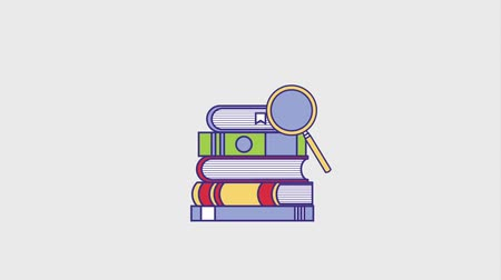 loupe : education stacked books with magnifying glass animation hd