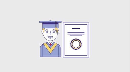 commencement : smiling graduate man and diploma animation hd