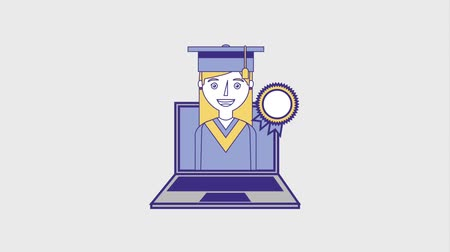 entellektüel : graduate woman on laptop with medal award animation hd Stok Video