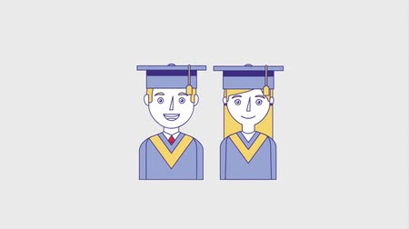старшей школе : young people graduates man and woman animation hd Стоковые видеозаписи