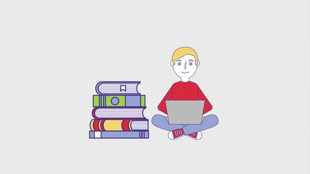 akademický : young man student with laptop pile books and apple animation hd