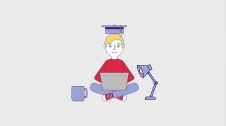 plněné : man student with laptop graduation hat lamp and coffee cup animation hd