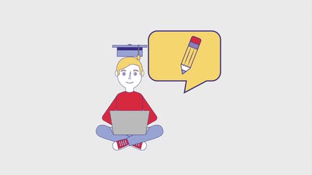 kniha : young man student with laptop graduate hat creativity animation hd