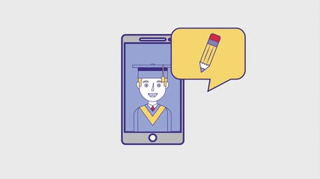 entellektüel : graduate man on smartphone talks books and medal animation hd Stok Video