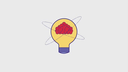invenção : brain inside bulb idea turning on off creativity animation hd