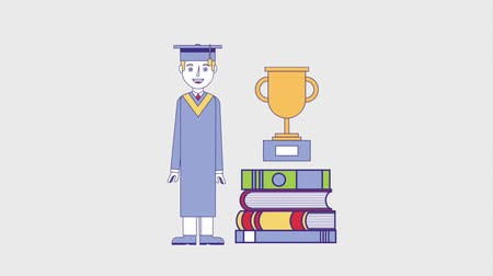 grãos : graduate man pile books and trophy education animation hd