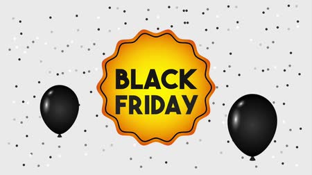 camsı : flying dark balloons badge black friday animation hd Stok Video