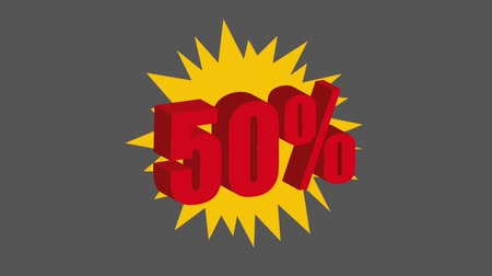 fifty : discount offer sale 50 percent sticker animation hd