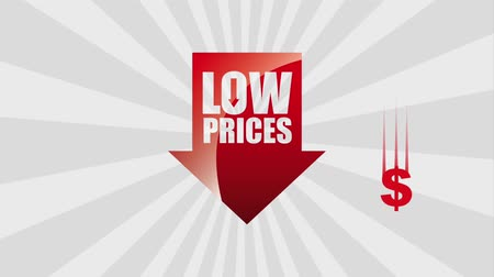 durgunluk : red arrow low prices falling dollar symbol animation hd Stok Video
