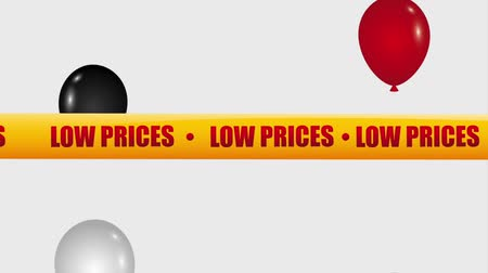 red tape : flying balloons tape low prices market animation hd Stock Footage
