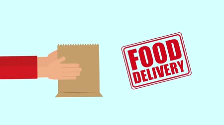 bölgesel : hands holding shopping bag food delivery animation hd