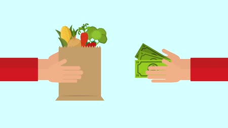 grocery : hands of grocery delivery and customer money animation hd Stock Footage