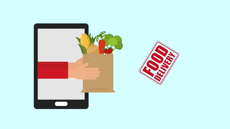 курьер : smartphone hands of grocery delivery food delivery animation hd