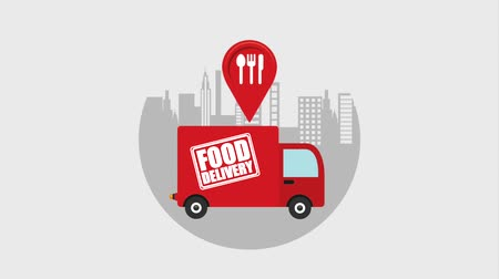 pozisyon : location restaurant truck food delivery in the city animation hd