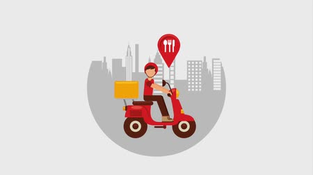 sağlamak : food delivery man riding scooter in the city animation hd Stok Video