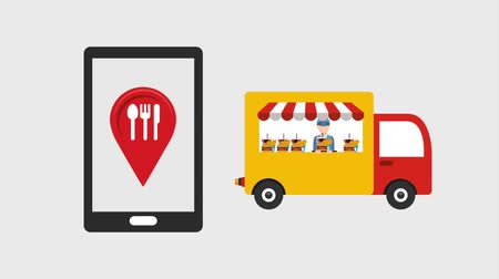 ekspres : smartphone restaurant truck food city food delivery animation hd Stok Video