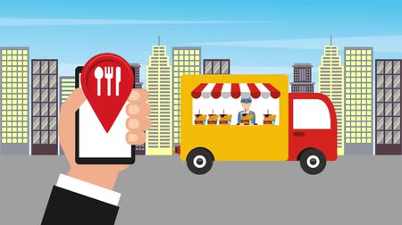 truck stop : hand with cellphone location truck food delivery city animation hd