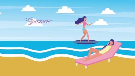 plážové lehátko : woman in sunbed and other in surfboard on the sea summer time animation hd