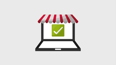 틱 : laptop online shopping bags check mark animation hd