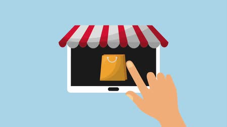 add to cart : hand touching sale button mobile online animation hd Stock Footage