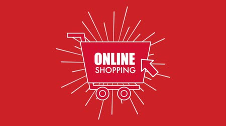 kursor : clicking arrow online shopping cart red background animation hd
